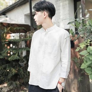 夏季薄款日系小清新立领七分袖亚麻衬衫男青少年棉麻短袖条纹衬衣