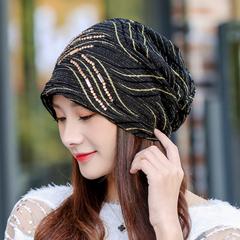 韩版时尚春秋女式帽子贴钻套头帽护耳保暖月子帽堆堆帽孕妇包头帽