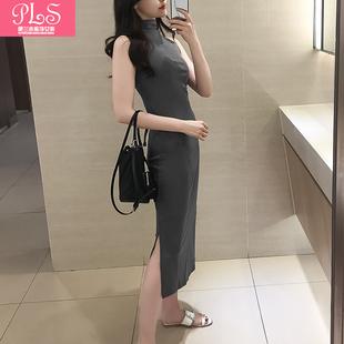 春夏新款韩版半高领纯棉修身背心纯色开叉加长款打底无袖连衣裙女