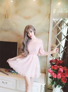 清纯yy网络直播女主播上镜 少女装衣服甜美可爱夏天假两件连衣裙