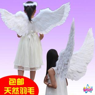 天使翅膀 白色羽毛翅膀燕形成人儿童表演 万圣节道具新娘花童装扮