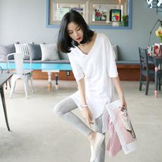 韩国V领白色宽松大码短袖纯棉t恤女装中长款体恤打底衫上衣女夏长