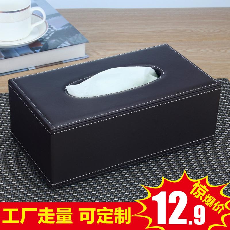 欧式皮革纸巾盒木质简约 客厅茶几餐巾抽纸盒汽车载家用 创意可爱图片