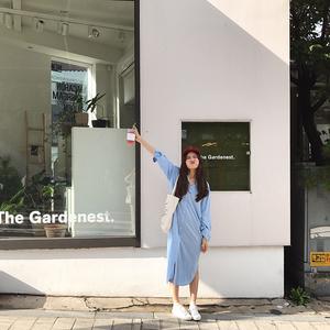 [ELINASEA]小海自制 2017秋蓝色宽松侧边开叉长袖衬衫裙中长款女X杨桃
