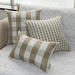 格调春天 咖色格子 欧式田园沙发/床头 靠垫 靠枕 抱枕