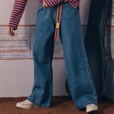 octopusme民谣系列原创复古简约百搭做旧直筒裤长裤日系牛仔裤女