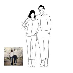 ins风手绘情侣头像黑白极简线条简笔卡通人物宠物漫画纹身画定制