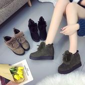 女冬2017新款 秋季加绒松糕鞋 学生内增高棉鞋 高跟鞋 毛毛鞋 百搭韩版