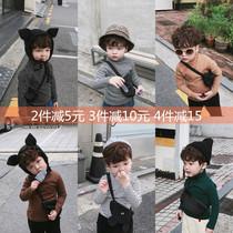 冬季男女童韩版高领打底T恤儿童宝宝加绒保暖条纹上衣潮百搭弹力