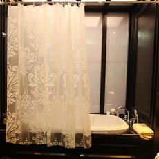 浴帘布隔断帘防水防霉加厚挂帘免打孔卫生间浴帘杆淋浴杆浴室套装