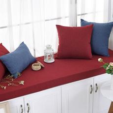 泊远家 纯色亚麻风格 高密度海绵垫简约现代布艺飘窗垫窗台垫定做