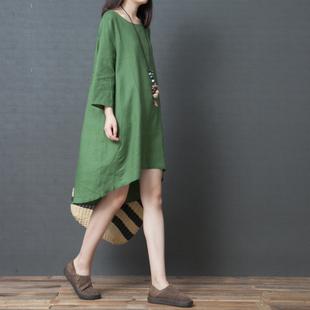 棉麻连衣裙女装秋季新款2018韩版宽松中长款长袖文艺纯色亚麻裙子