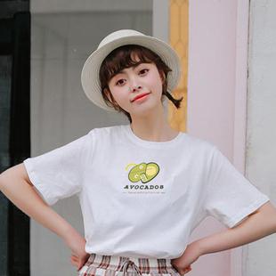 韓版2019夏季女士短袖T恤純棉全棉新款百搭款圓領純色佛系印花