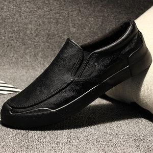 男鞋夏季透气男士休闲鞋休闲皮鞋懒人一脚蹬韩版潮流英伦百搭鞋子皮鞋