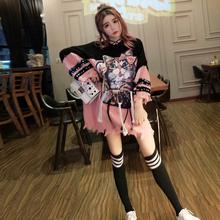 针织毛衣裙子 新款 甜美可爱猫咪破洞连帽长袖 连衣裙女2018秋装 韩版