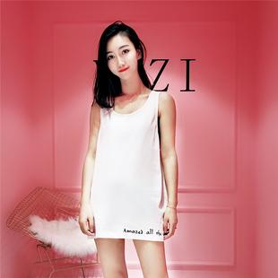 刺绣吊带背心女圆领无袖T恤宽松韩版打底衫纯棉白色中长款背心裙