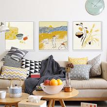 新中式装 饰画客厅餐厅沙发背景墙面挂画现代简约家居三联壁画丰收