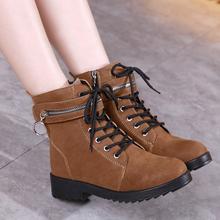 秋冬季新款马丁靴粗跟侧拉链短靴韩版短筒雪地靴学生棉鞋女鞋子