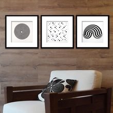 饰画展厅样板间框画挂画 黑白抽象插画系列家居家装 饰品现代客厅装