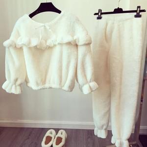 珊瑚绒睡衣套装女式冬季韩版甜美可爱荷叶边长袖加厚家居服两件套居家服