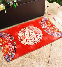 结婚婚房布置喜庆中国风喜字进门门垫地垫防滑加厚脚垫子装饰地毯