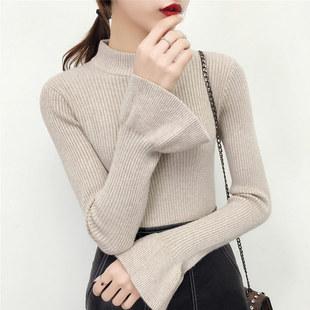 半高领毛衣女韩版打底衫冬季新款加厚长袖修身百搭套头上衣针织衫