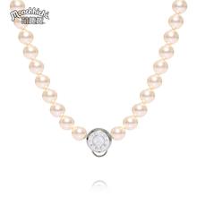 Monchhichi萌趣趣项链经典8mm仿珍珠曾被称蒙奇奇锁骨链女款N038