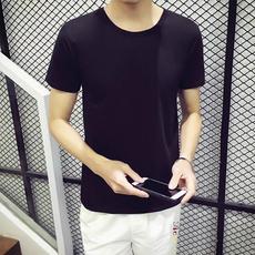 2017夏季新款短袖T恤男修身圆领上衣半截袖纯色打底衫黑色t体恤潮