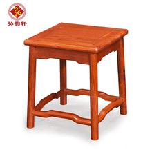 弘韵轩现代中式缅甸花梨木方凳 守镜首影宓书久坐具红木小家具