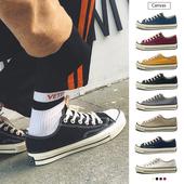 韩系基本款夏时尚纯色青少年街头流行潮男学院风帆布鞋男新品系带