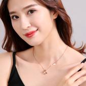 韩国简约18K玫瑰金蝴蝶项链女 小清新学生chic锁骨链钛钢彩金饰品