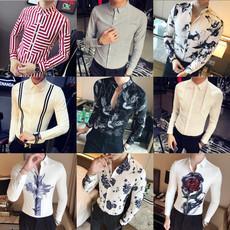 2017秋装新款男士印花长袖衬衫韩版修身发型师时尚潮流刺绣衬衣