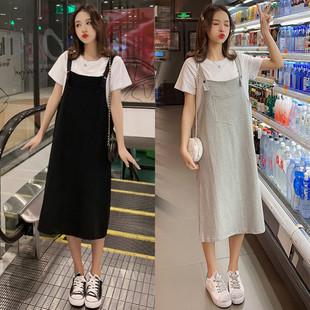 2019夏季新款背带裙套装女学生韩版学院风宽松大码纯棉t恤连衣裙