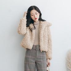 韩版羊卷毛毛圈圈外套女短款加厚保暖chic羊羔毛外套女冬毛毛绒