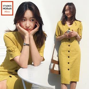 2018夏季新款韩版气质棉麻包臀 连衣裙女中长款一排扣收腰显瘦V领