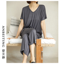 睡衣女春秋套装韩版宽松短袖两件套夏季薄款胖mm莫代尔家居服大码