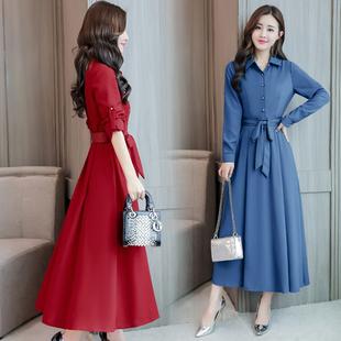 2018秋季新款女装韩版收腰显瘦妈妈长裙女长款时尚长袖棉麻连衣裙