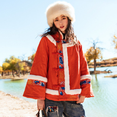素萝 飞歌 原创民族风女装冬季外套2018新款复古刺绣短款毛领棉服