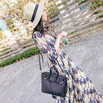 波西米亚印花不规则大摆女神连衣裙修身 显瘦气质V领雪纺连衣长裙