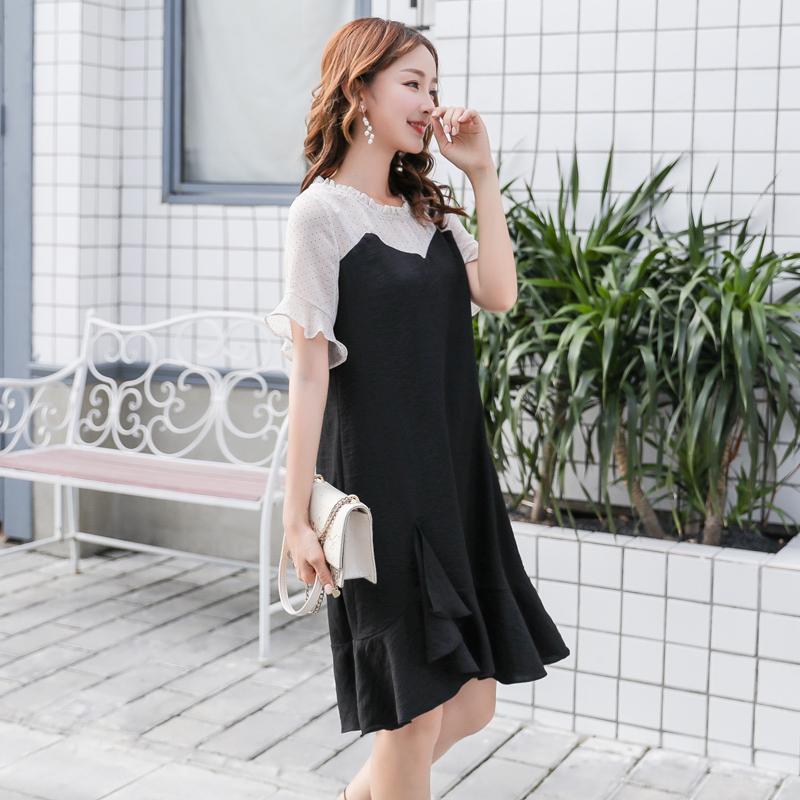 大码胖mm新款波点雪纺拼接黑色鱼尾连衣裙女OL气质显瘦赫本小黑裙图片