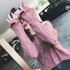 2017早秋新款韩版镂空破洞套头长袖针织衫上衣宽松套头薄毛衣女装