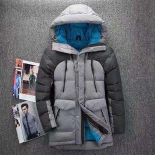 550蓬 东北男士户外羽绒大衣 冬装加厚中长款连帽羽绒服外套雪乡
