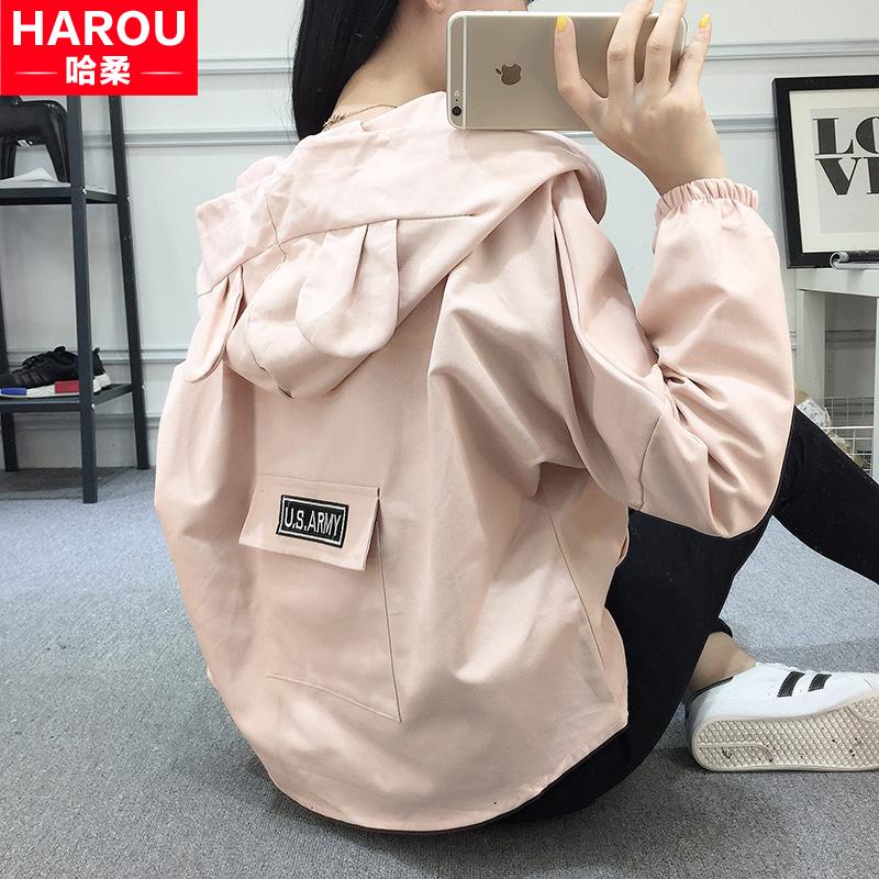 棒球服少女秋装2018新款短款外套初中高中学生韩版宽松薄款上衣服图片