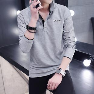 秋季男士薄款T恤长袖纯棉衬衫带领子衣服男装青年翻领打底polo衫