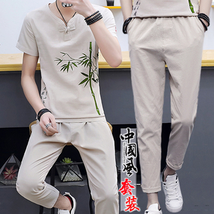 夏季棉麻套装男亚麻短袖t恤潮流v休闲中国风2019新款夏装潮牌衣服