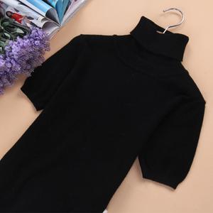 欧洲站新款女士羊绒短袖修身羊绒衫半袖高领打底衫套头毛衣包邮