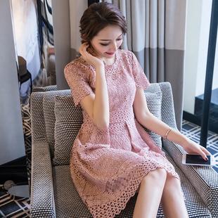 2018新款夏装女装圆领修身短袖蕾丝连衣裙女小香风高腰显瘦a字裙