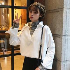 春季女装2019新款韩版小清新假两件衬衣潮宽松条纹拼接长袖衬衫女