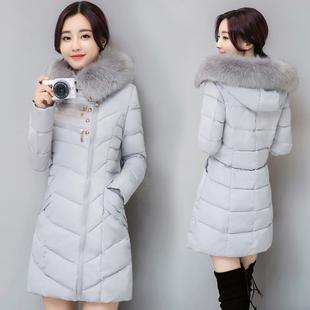 2016冬装新款韩版修身羽绒服女中长款狐狸大毛领加厚保暖棉服外套