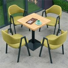 休闲约小吃店冷饮汉堡快餐饮咖啡厅奶茶店甜品店桌椅组合原木色